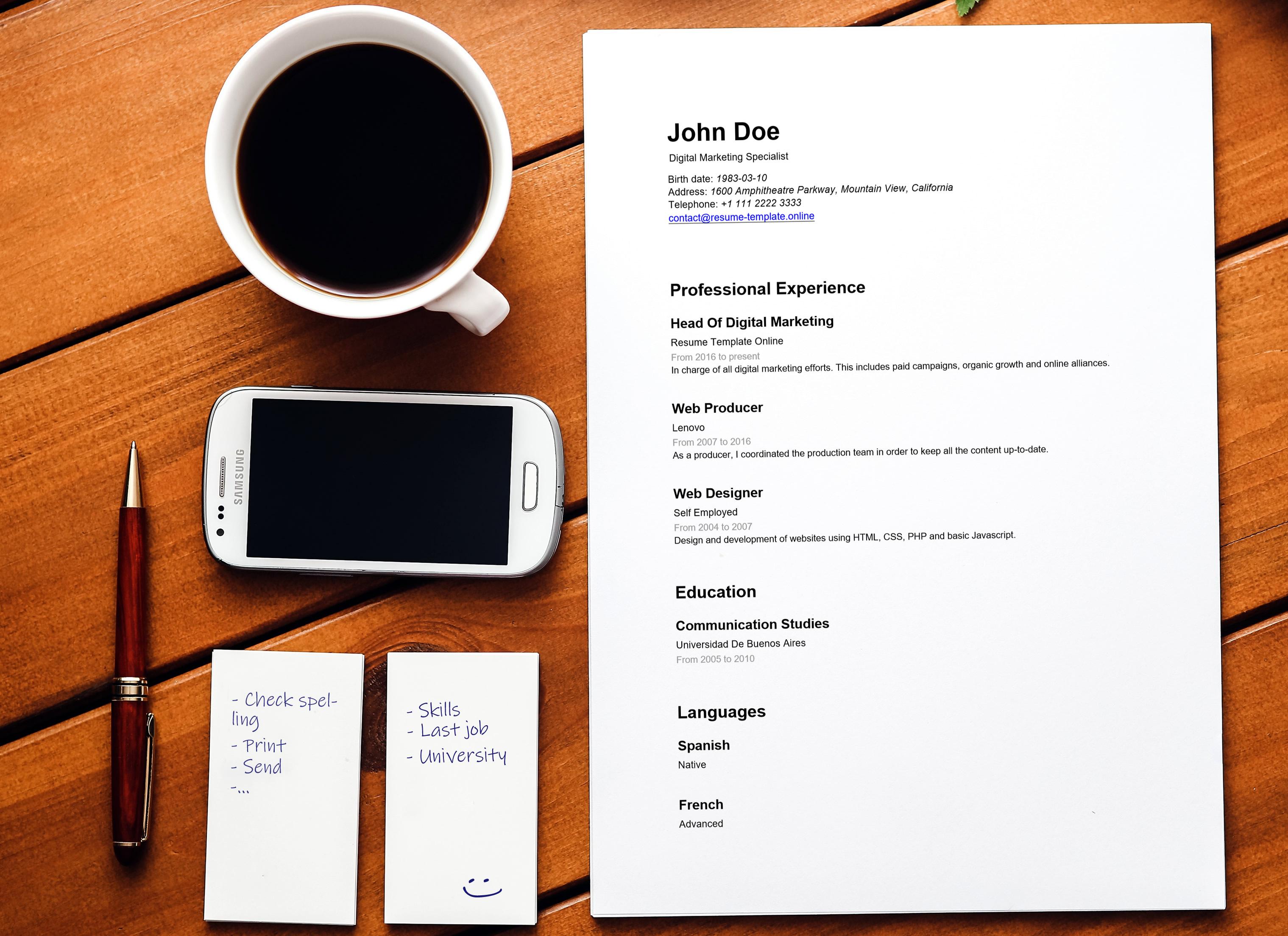 make professional resume online free